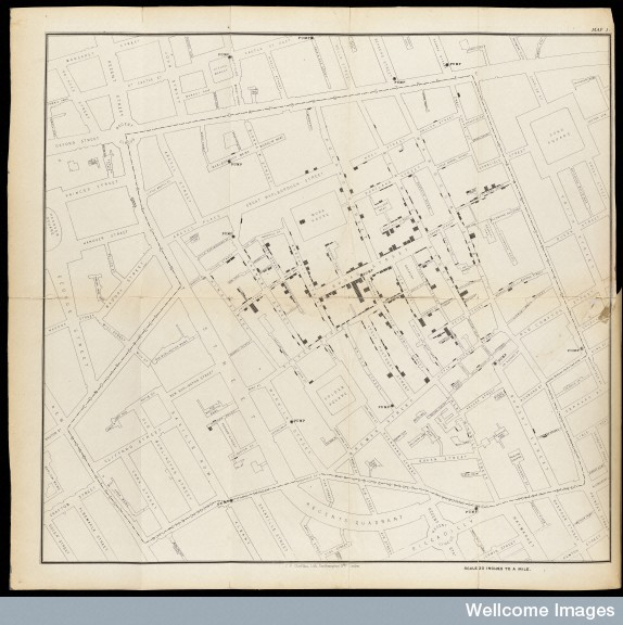 L0063431 Map showing deaths from Cholera in Broad Street…